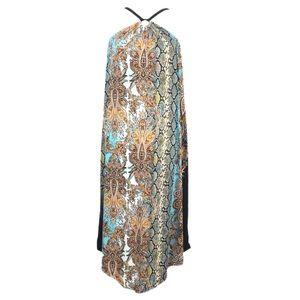 NWT INC Halter handkerchief Mixed Print Midi Dress